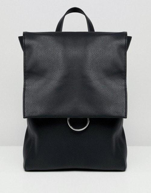 エイソス レディース バックパック・リュックサック バッグ ASOS DESIGN ring flap backpack Black