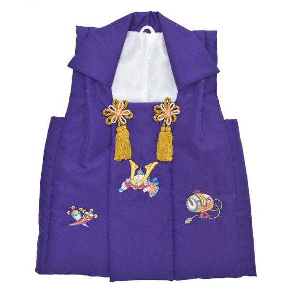 お子様被布コート|「濃紺藍色 兜、小槌、丁子の刺繍」|3歳向け