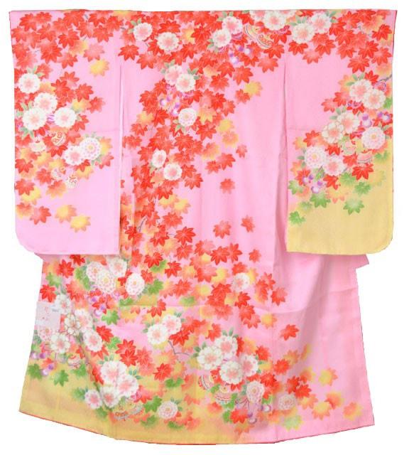 正絹四つ身セット|花ひめ・ピンク|7歳向け