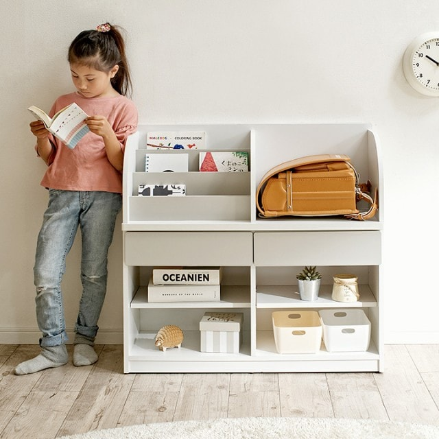 ランドセルラック キッズラック 子供部屋 インテリア 収納 棚 絵本棚 絵本ラック 本棚 子ども 家具 バロル 幅84cm