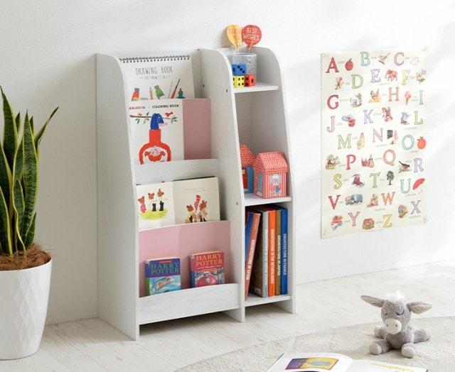 幅60cm 絵本棚 LOG(ログ) 5色対応 ブックラック ブックシェルフ 本棚 キッズラック ランドセル収納 おもちゃ収納