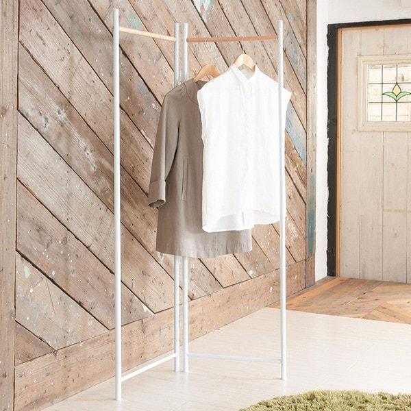 フレームハンガーラック(ホワイト/白) 幅44.5cm 折りたたみパイプハンガー/スチール/天然木