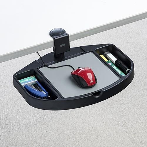 小物入れ付き マウステーブル 360度回転 クランプ式 硬質プラスチック マウスパッド