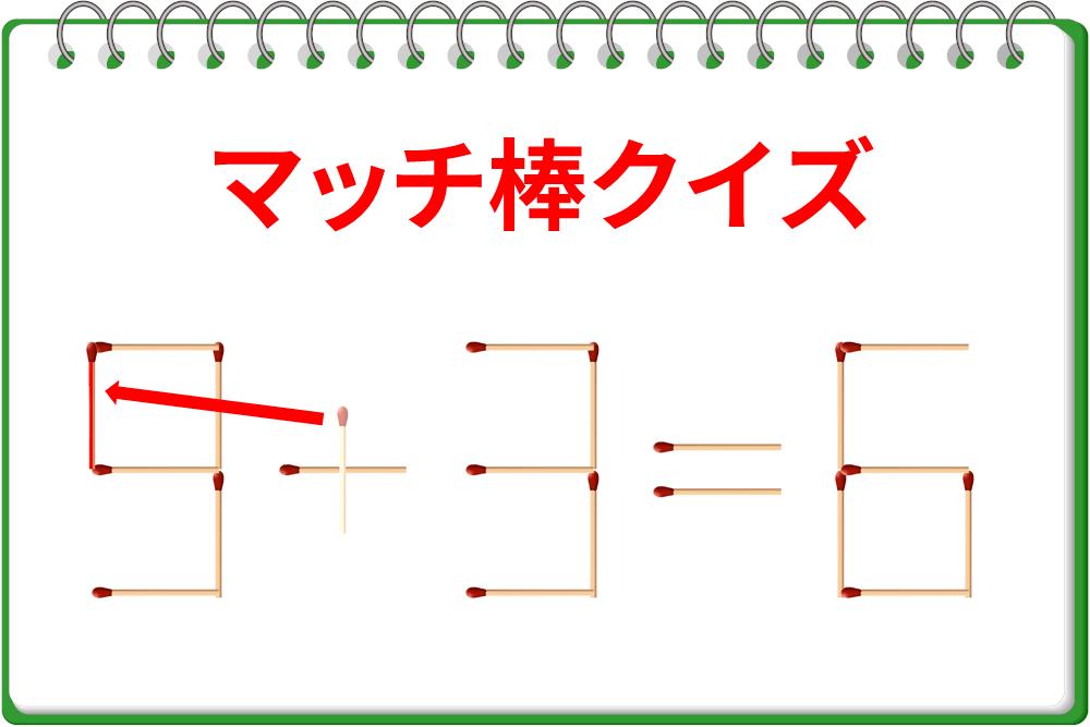 「3+3=6」を1本動かして、もうひとつの正しい式を作ろう!
