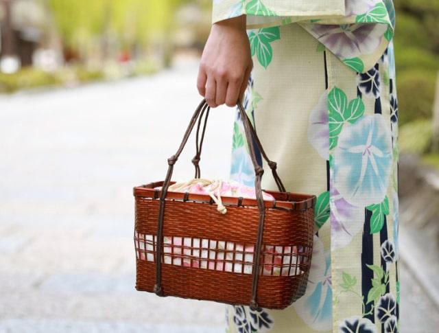 選べる9柄 ちりめん巾着竹かごバッグ