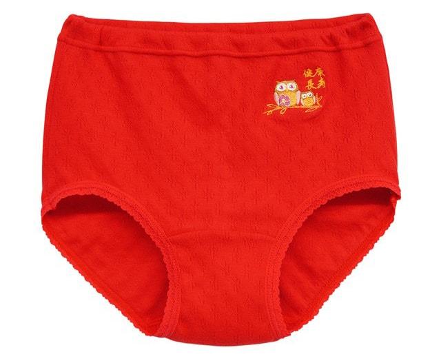 健康長寿 フクロウ刺繍入り 赤パンツ3枚組