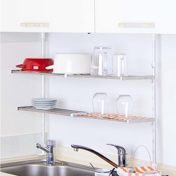 スリムキッチンラック つっぱり棚 2段 伸縮式