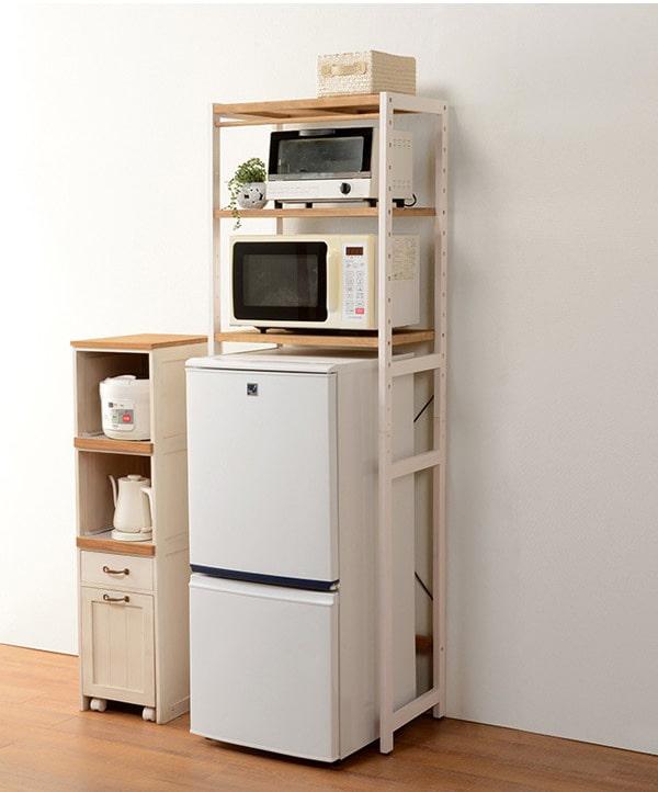 冷蔵庫ラック 木製 カントリー調