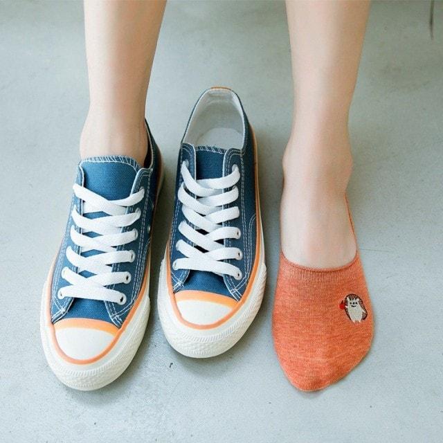 刺繍動物滑り止め見えない靴下