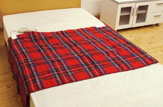 日本製 電気毛布 ひざ掛け 82×140cm フリンジ付き チェック柄