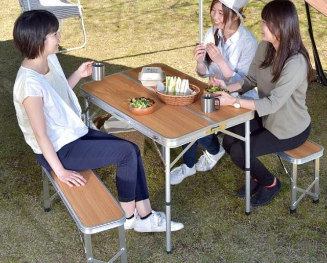 レジャーテーブル 90 ベンチ 2脚 セット 軽量 アルミ 3点セット 折りたたみ キャンプ用品 アウトドアテーブル バーベキュー