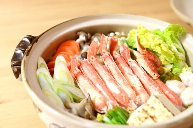 野菜たっぷりカニ鍋