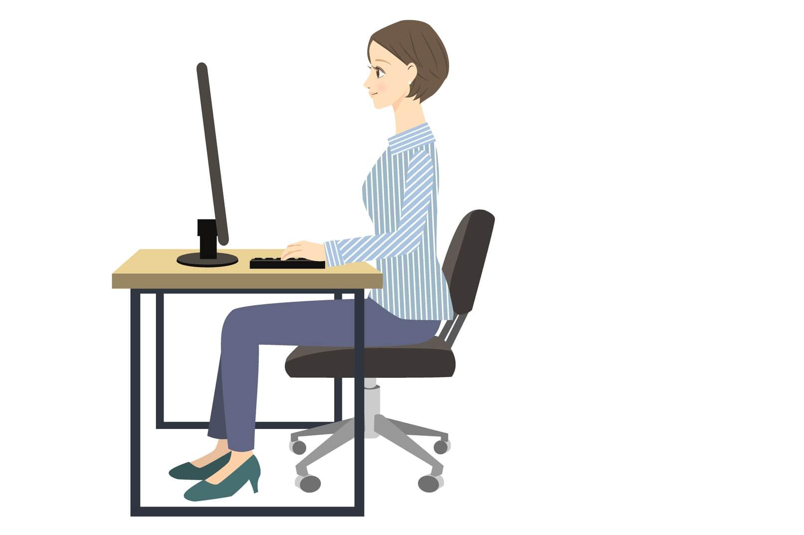 パソコンを使うときの正しい姿勢