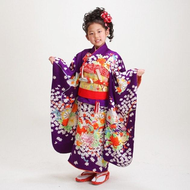 七五三フルセット|菊・レトロ・モダン・四ツ身|7歳向け