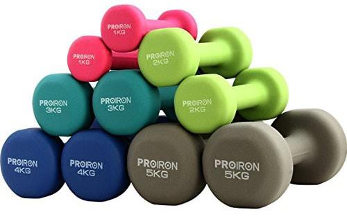PROIRON ダンベル 4kg エクササイズ ネオプレンゴムコーティング [筋力トレーニング 筋トレ シェイプアップ 鉄アレイ 鉄アレー]