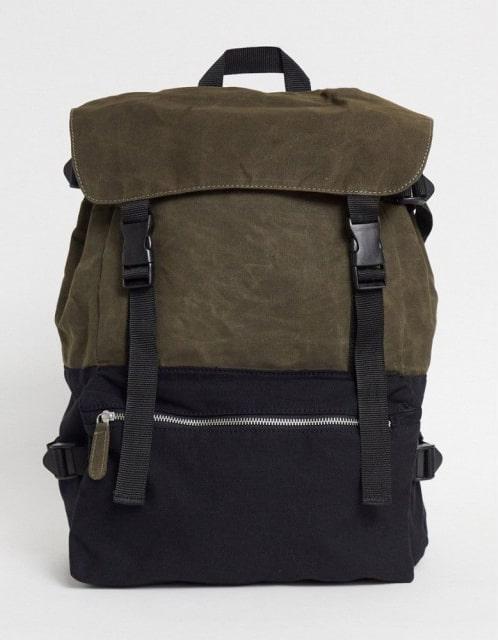エイソス(ASOS)/ Oversized Backpack In Black And Khaki Canvas With Multi-Compartments