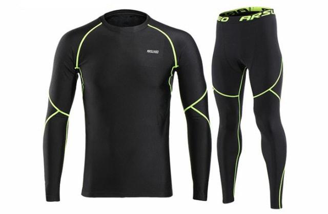 コンプレッション ウェア 上下セット 長袖インナーシャツ インナー サイクルジャージ /吸汗速乾 登山/トレーニングウェア