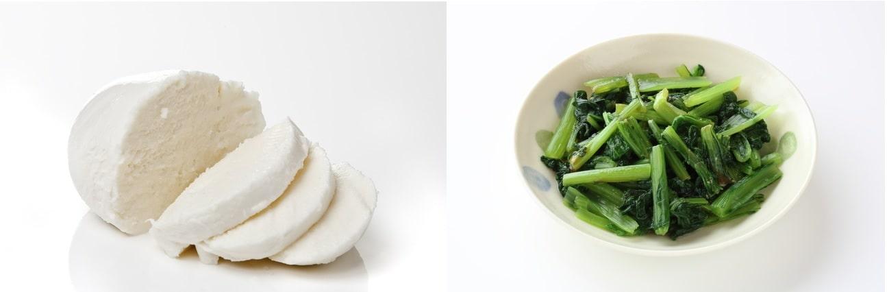 小松菜とモッツァレラチーズ