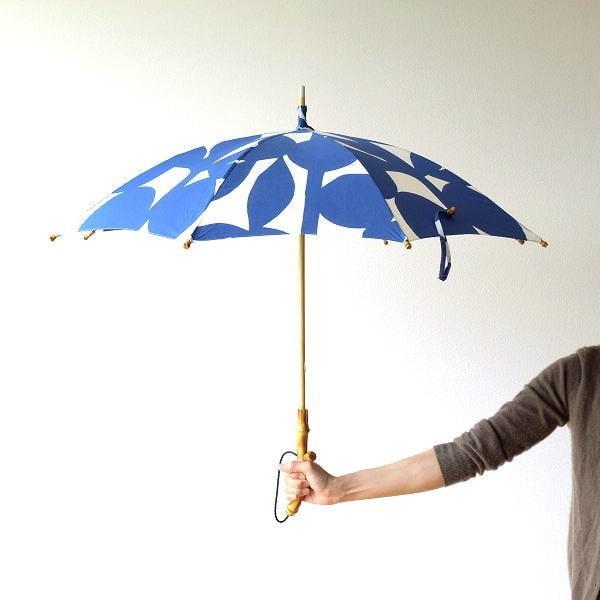 日傘 日本製 UVカット バンブー ブルーリーフ