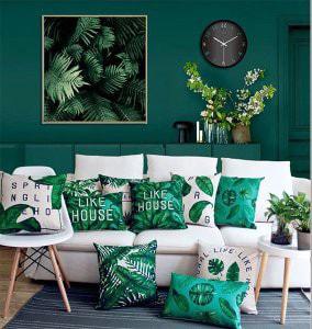 クッションカバー ボタニカル グリーン/緑 インテリア雑貨