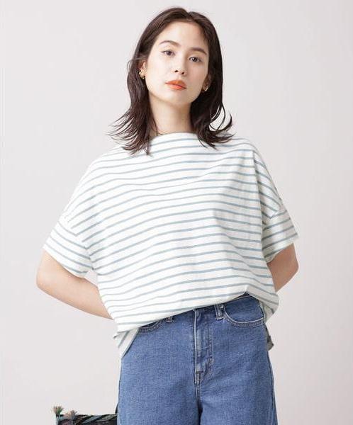 ナノ・ユニバース/WEB限定/ボーダーワイドドロップTシャツ 半袖
