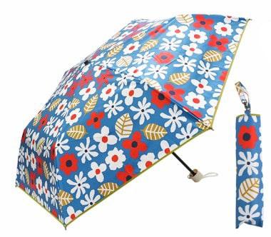 完全遮光 日傘遮光率100% UV遮蔽率99.9%以上 折りたたみ傘 北欧柄 ブラックコーティング