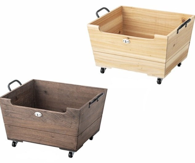 木製収納ボックス キャスター付き