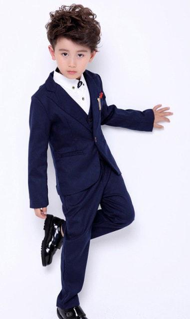男の子スーツ|ジャケット パンツ ベスト シャツ フォーマル5点セット