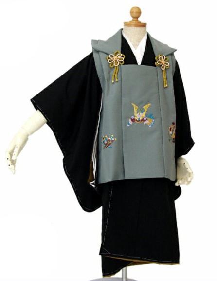 七五三着物レンタル|被布着物7点セット「着物黒&被布コートちりめん風グレー無地|3歳向け