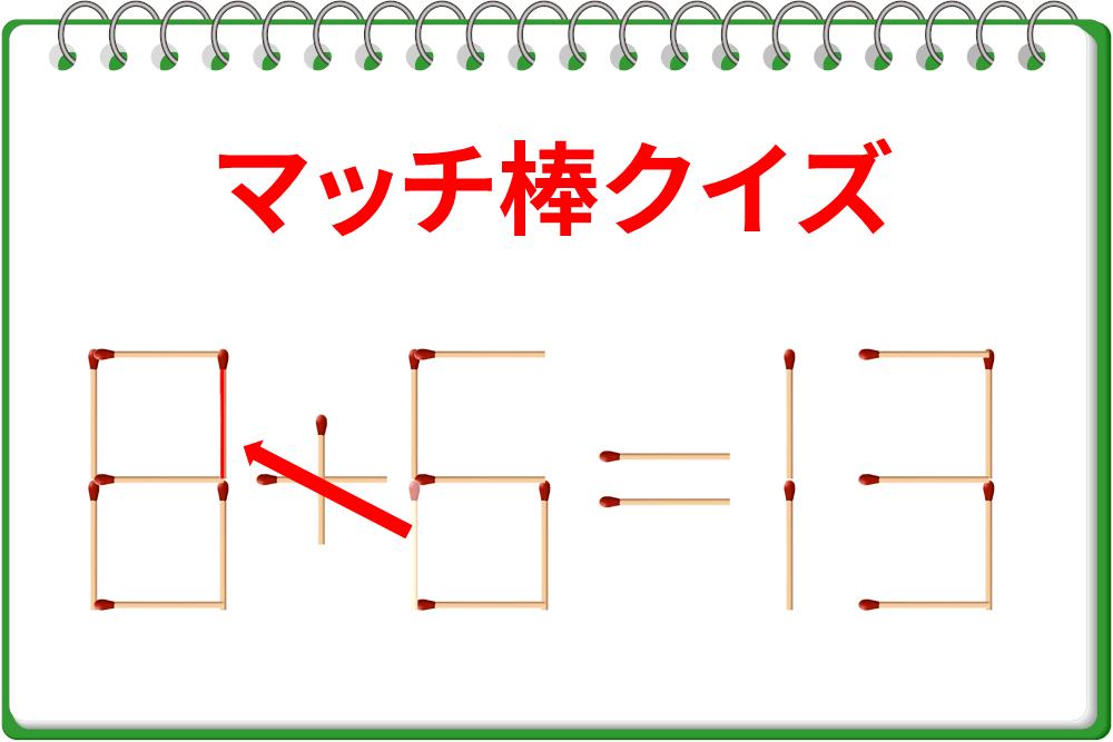 マッチ棒を1本だけ動かして「6+6=13」を正しい式に!