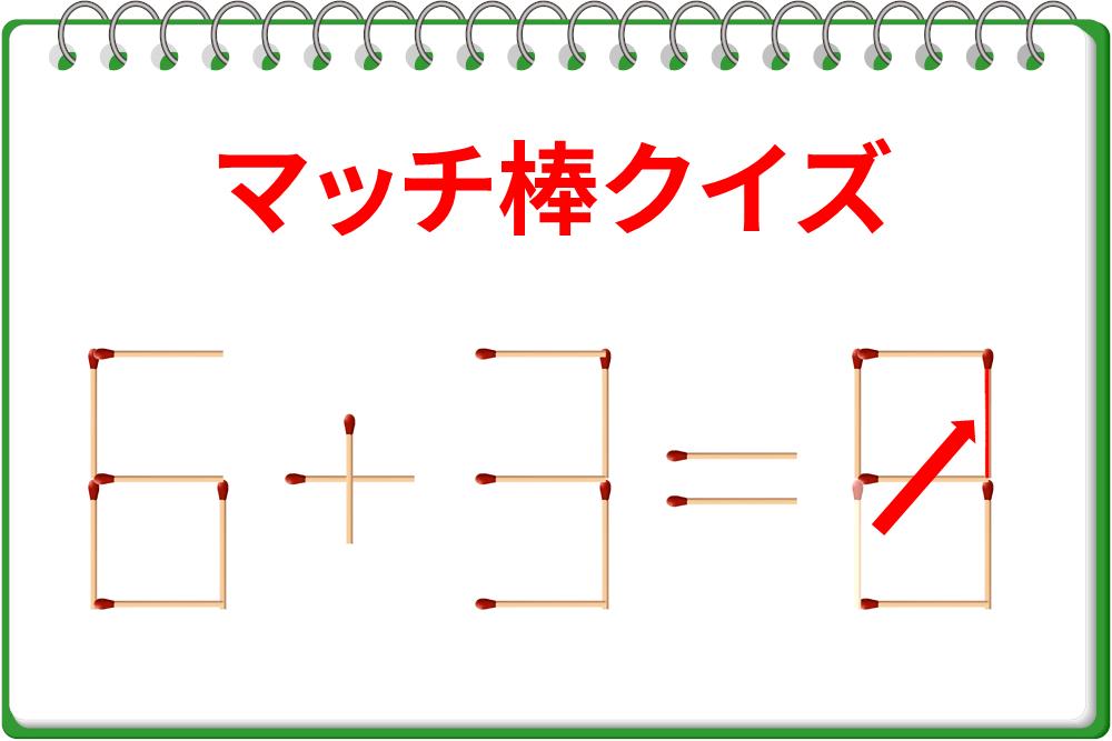 マッチ棒クイズ「6+3=6」を正しいものに変えよう!