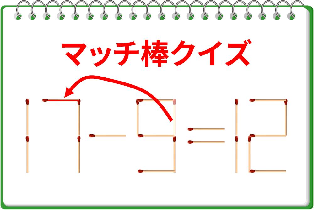 マッチ棒クイズ!「11-9=12」を正しい式に!