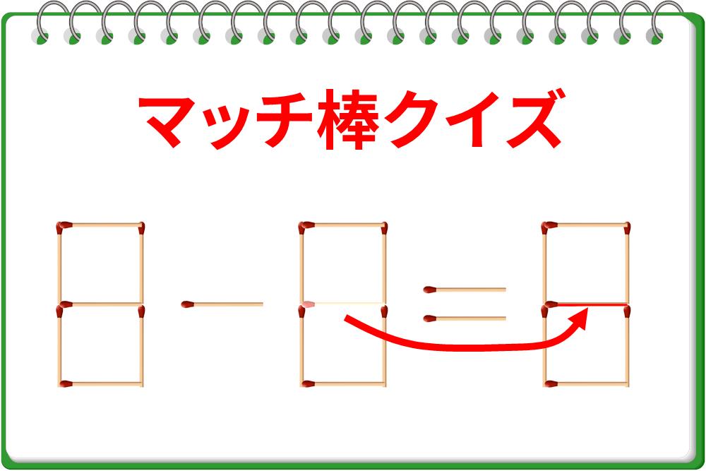 マッチ棒クイズ!「8-8=0」を別バージョンの正しい式をへ!