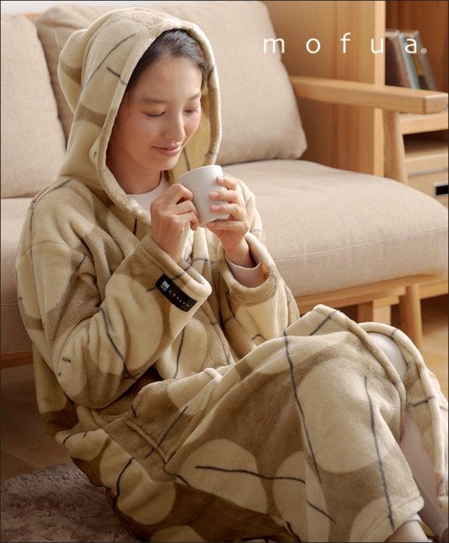 mofua×AQUA プレミアムマイクロファイバー 着る毛布 フード付き