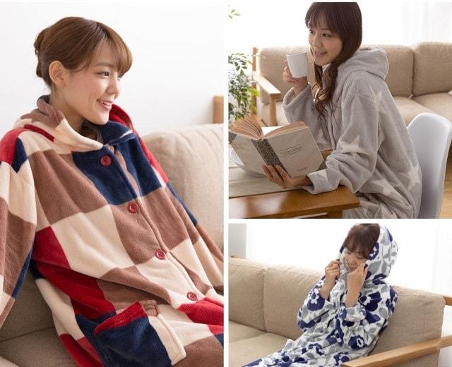 mofua プレミアムマイクロファイバー 着る毛布 フード付き
