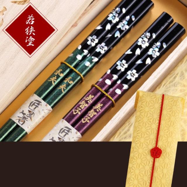 若狭塗 銀舞桜 箸セット 2膳
