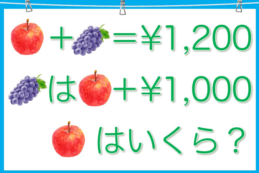 リンゴとブドウ合わせて1,200円。ブドウはリンゴ+1,000円。リンゴはいくら?