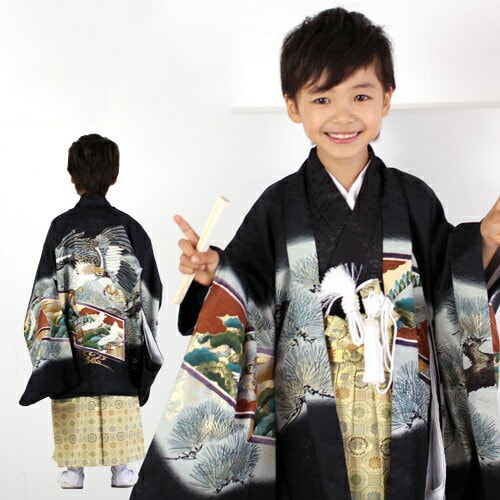 羽織袴13点セット|「黒地に鷲と松」|5歳向け