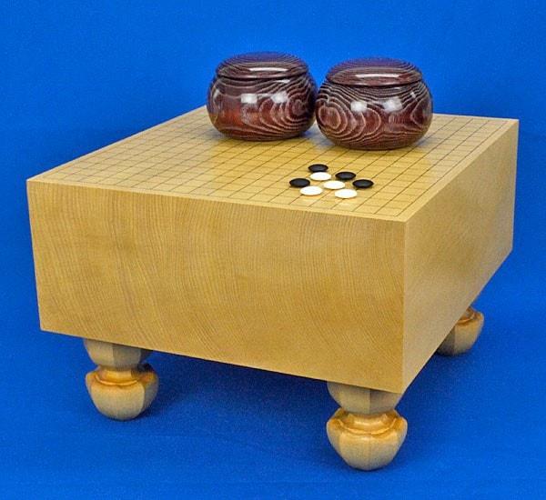 囲碁セット 新かや6寸足付碁盤セット(蛤碁石25号・栗碁笥大)