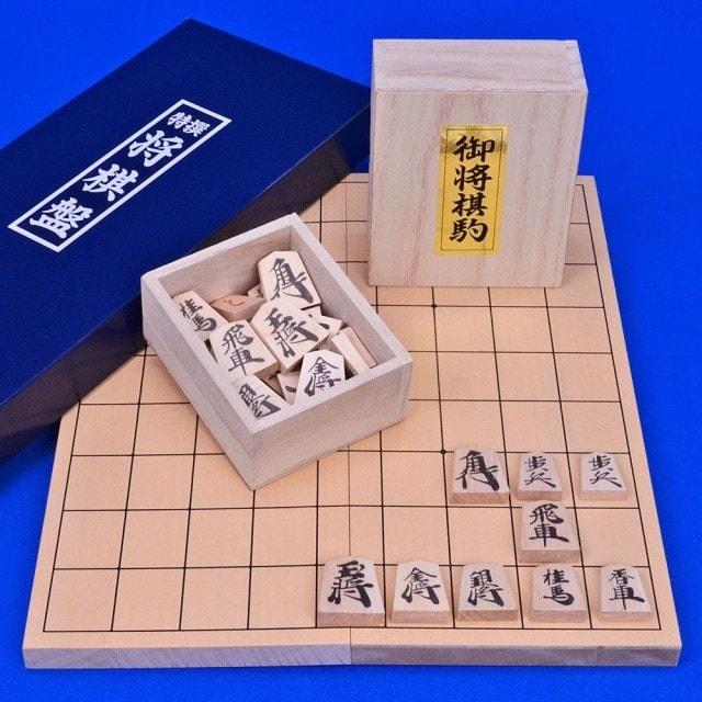 小型新桂4号折将棋盤セット(木製将棋駒上別製源平駒)