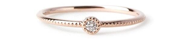 SIENA ROSE/一粒ダイヤのミル打ちリング