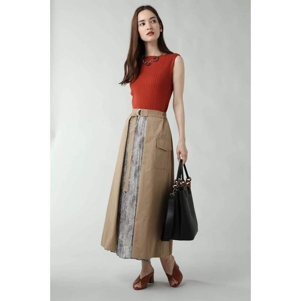ローズバッド(ROSE BUD)/パイソン柄切り替えプリーツスカート