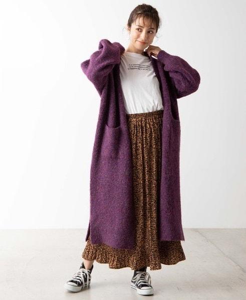 ロングカーデ×マキシ丈スカート