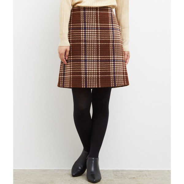 ウール混チェック台形スカート