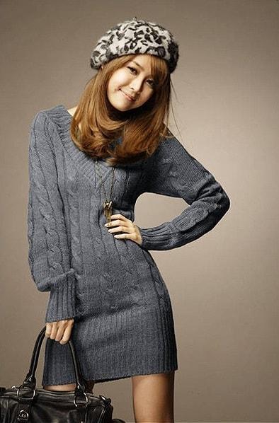 ワンピース Vネック リブ編み ニット ざっくり セーター