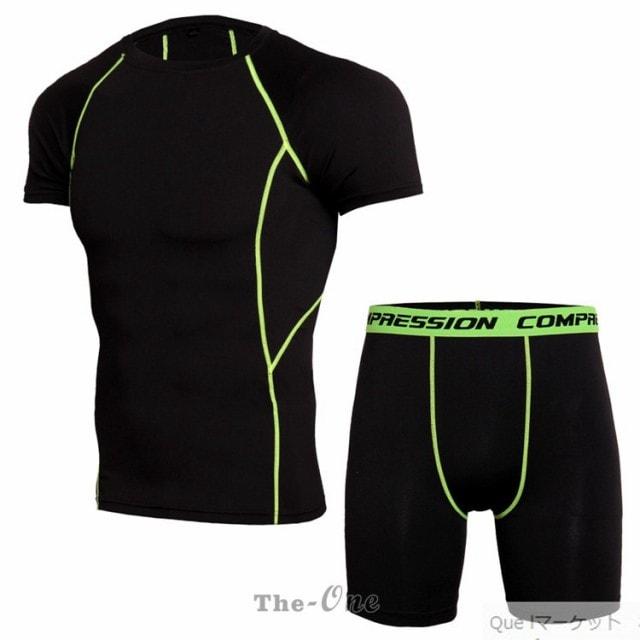 コンプレッションウェア 上下セット トレーニングウェア 吸汗 メンズ 速乾 セットアップ ショートタイツ 夏 登山 夏用 半袖Tシャツ