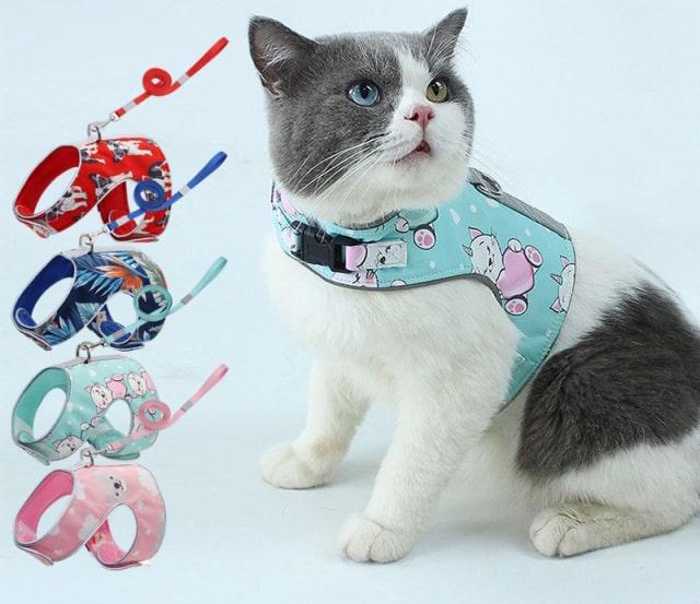 猫用ハーネス 反射布付き